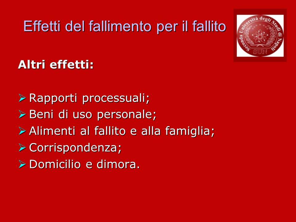 Effetti del fallimento per il fallito Altri effetti: Rapporti processuali; Rapporti processuali; Beni di uso personale; Beni di uso personale; Aliment