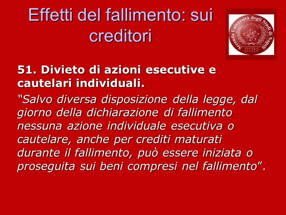 Effetti del fallimento: sui creditori 51. Divieto di azioni esecutive e cautelari individuali. Salvo diversa disposizione della legge, dal giorno dell