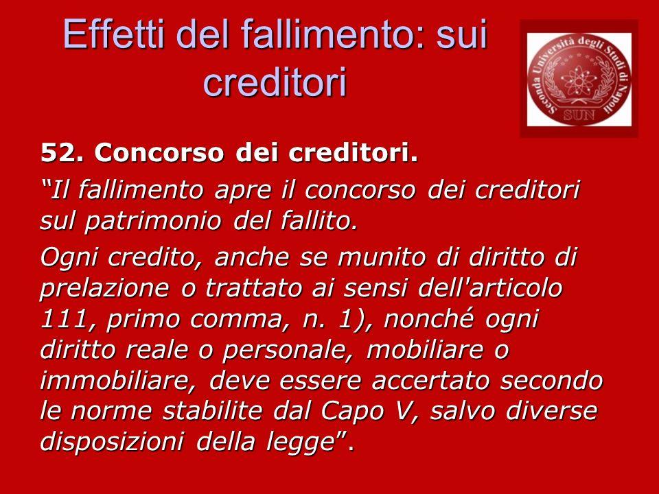 Effetti del fallimento: sui creditori 52. Concorso dei creditori. Il fallimento apre il concorso dei creditori sul patrimonio del fallito. Il fallimen