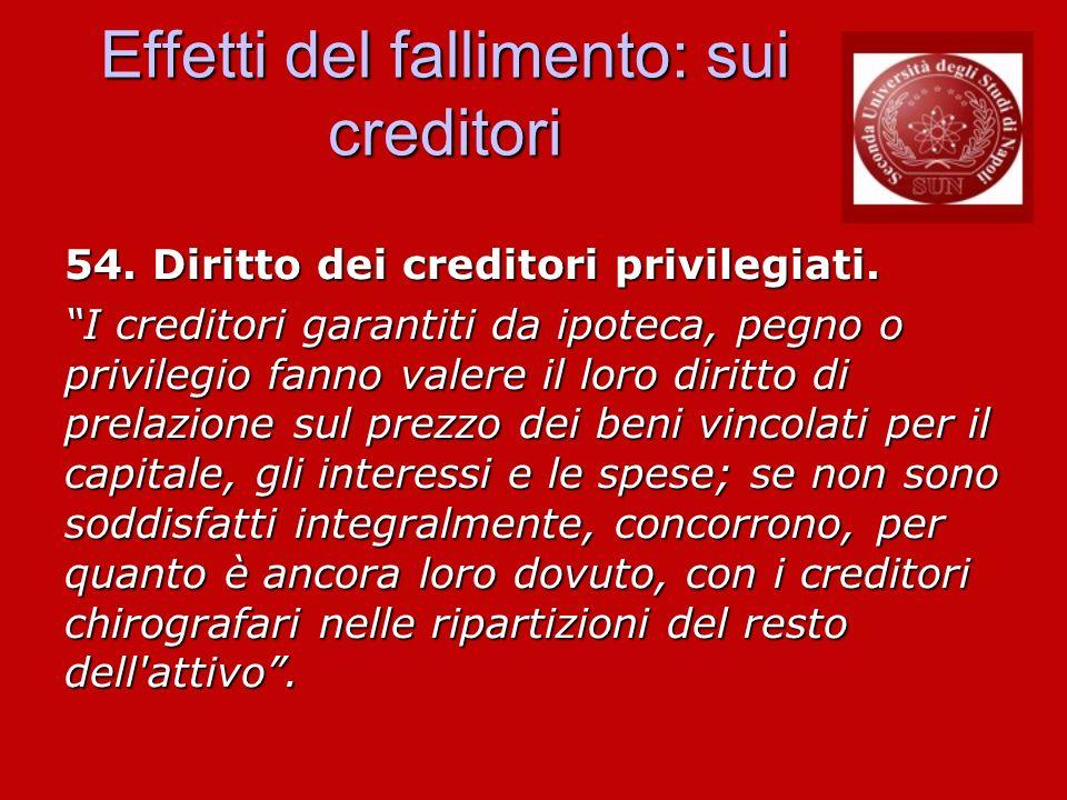 Effetti del fallimento: sui creditori 54. Diritto dei creditori privilegiati. I creditori garantiti da ipoteca, pegno o privilegio fanno valere il lor