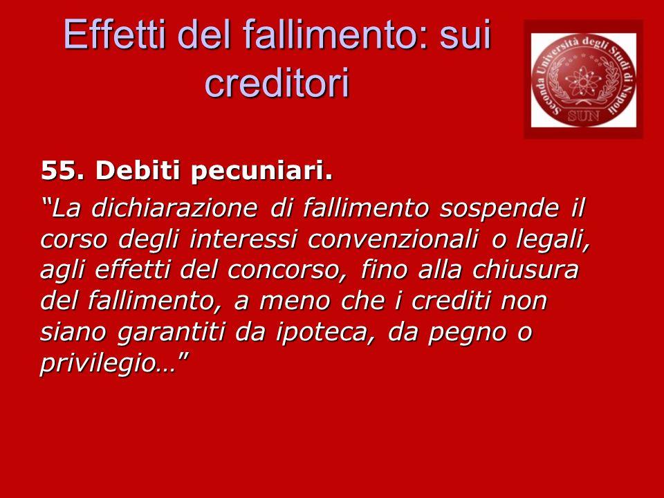 Effetti del fallimento: sui creditori 55. Debiti pecuniari. La dichiarazione di fallimento sospende il corso degli interessi convenzionali o legali, a