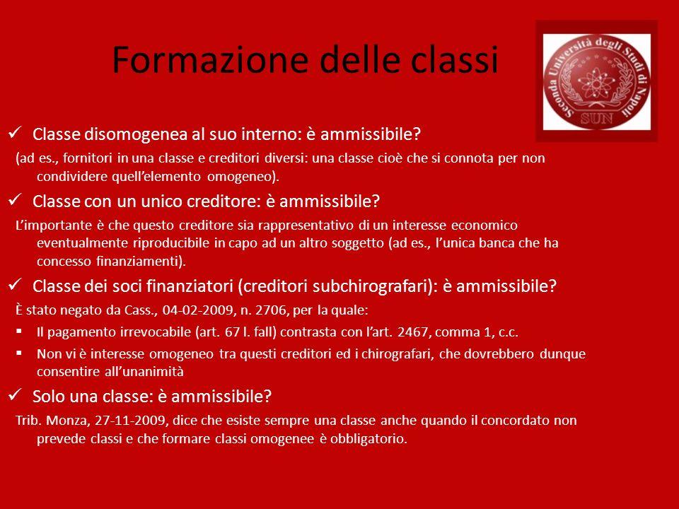 Formazione delle classi Classe disomogenea al suo interno: è ammissibile? (ad es., fornitori in una classe e creditori diversi: una classe cioè che si
