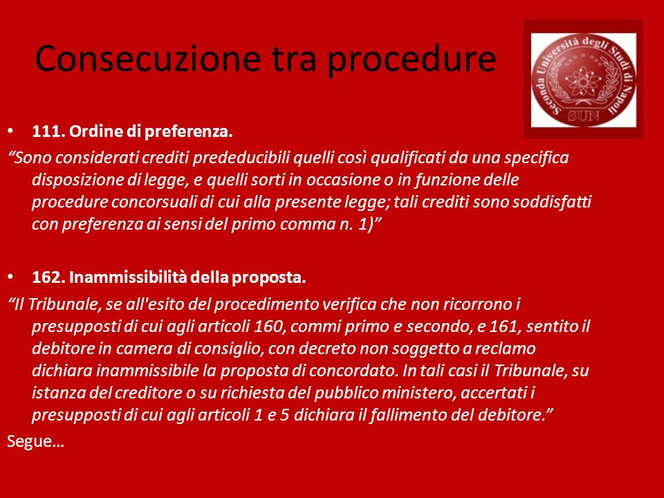 Consecuzione tra procedure 111.Ordine di preferenza.
