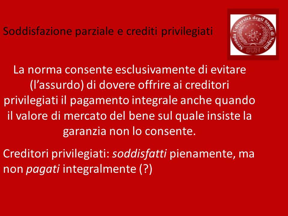 La norma consente esclusivamente di evitare (lassurdo) di dovere offrire ai creditori privilegiati il pagamento integrale anche quando il valore di me