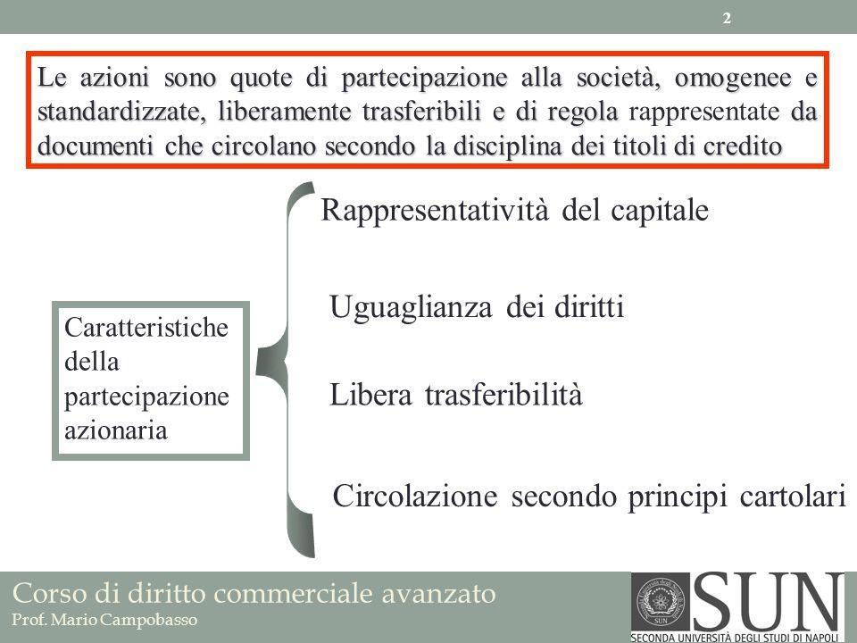 Corso di diritto commerciale avanzato Prof. Mario Campobasso Le azioni sono quote di partecipazione alla società, omogenee e standardizzate, liberamen