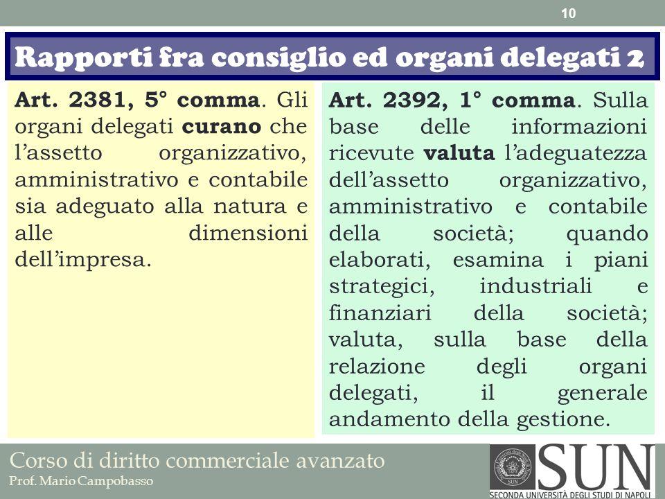 Corso di diritto commerciale avanzato Prof. Mario Campobasso Art. 2381, 5° comma. Gli organi delegati curano che lassetto organizzativo, amministrativ