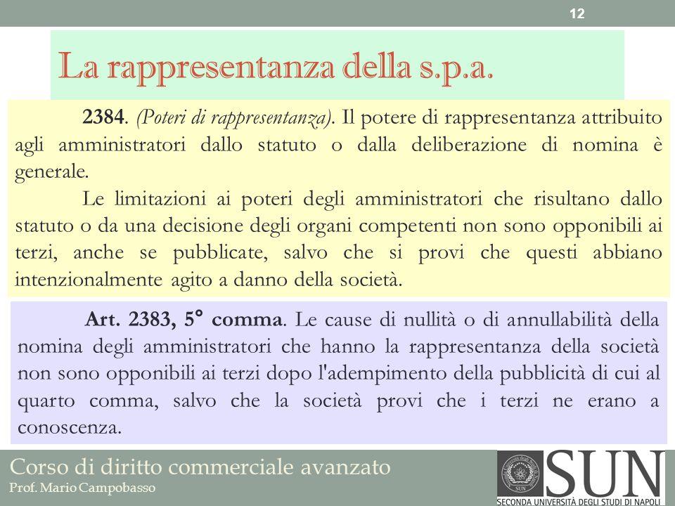Corso di diritto commerciale avanzato Prof. Mario Campobasso La rappresentanza della s.p.a. 2384. (Poteri di rappresentanza). Il potere di rappresenta