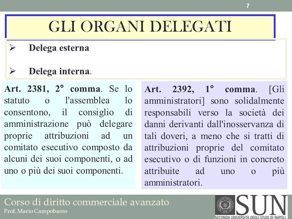 Corso di diritto commerciale avanzato Prof. Mario Campobasso GLI ORGANI DELEGATI Delega esterna Delega interna. Art. 2381, 2° comma. Se lo statuto o l