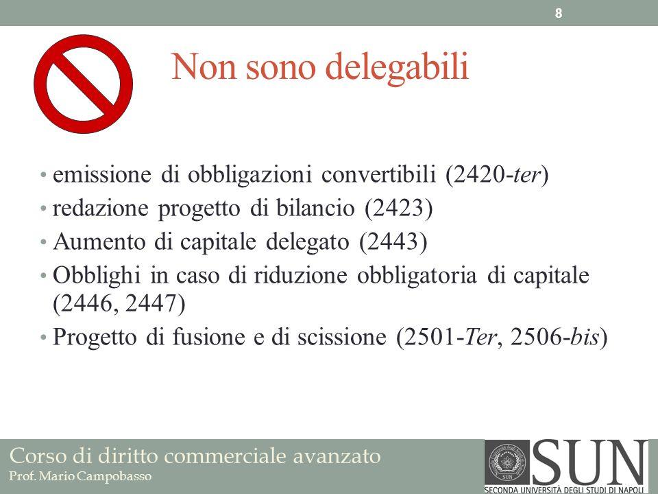 Corso di diritto commerciale avanzato Prof. Mario Campobasso Non sono delegabili emissione di obbligazioni convertibili (2420-ter) redazione progetto