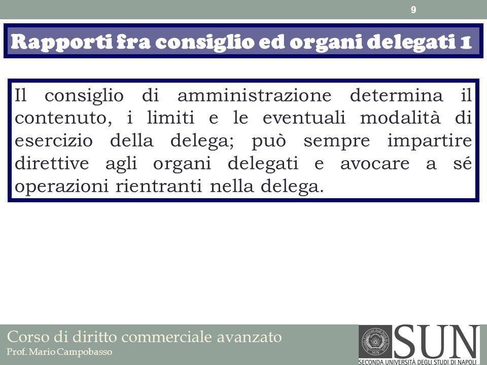 Corso di diritto commerciale avanzato Prof. Mario Campobasso Rapporti fra consiglio ed organi delegati 1 Il consiglio di amministrazione determina il