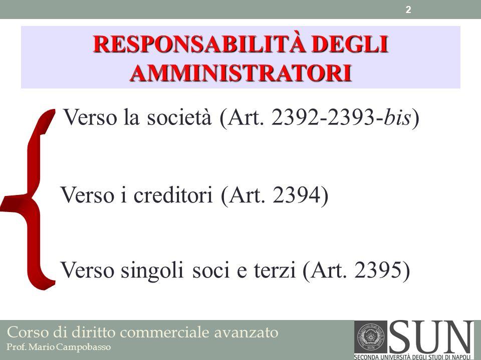 Corso di diritto commerciale avanzato Prof. Mario Campobasso Verso la società (Art. 2392-2393-bis) RESPONSABILITÀ DEGLI AMMINISTRATORI Verso i credito