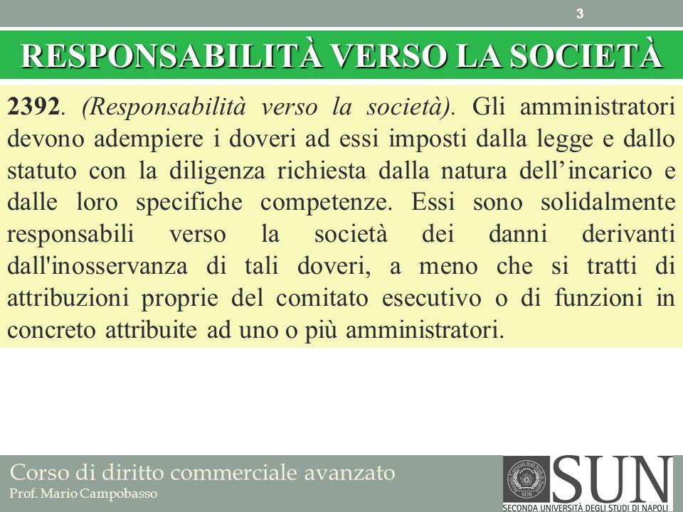 Corso di diritto commerciale avanzato Prof. Mario Campobasso RESPONSABILITÀ VERSO LA SOCIETÀ 2392. (Responsabilità verso la società). Gli amministrato
