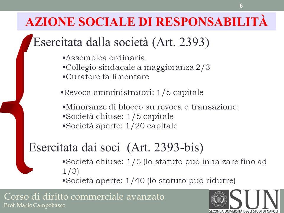 Corso di diritto commerciale avanzato Prof. Mario Campobasso Esercitata dalla società (Art. 2393) AZIONE SOCIALE DI RESPONSABILITÀ Esercitata dai soci