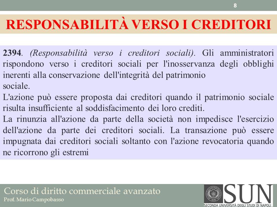 Corso di diritto commerciale avanzato Prof. Mario Campobasso 2394. (Responsabilità verso i creditori sociali). Gli amministratori rispondono verso i c