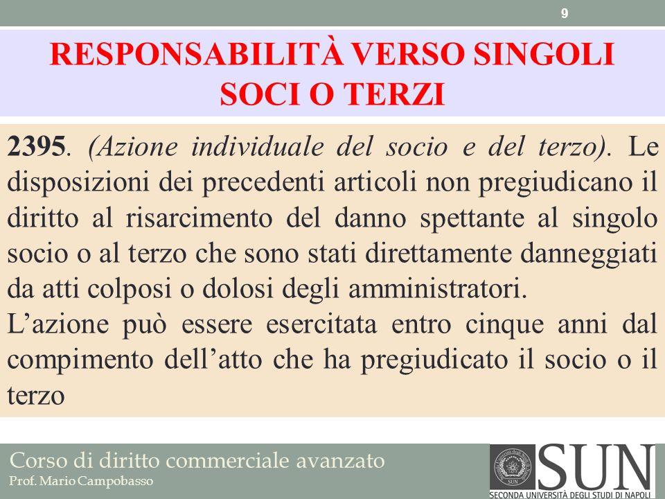 Corso di diritto commerciale avanzato Prof. Mario Campobasso 2395. (Azione individuale del socio e del terzo). Le disposizioni dei precedenti articoli