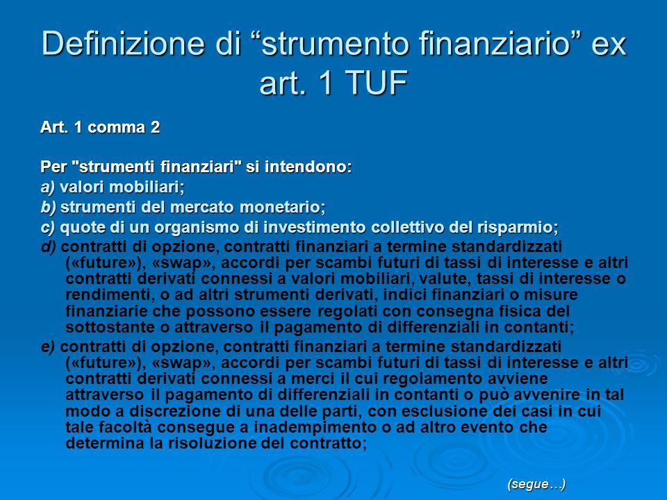Definizione di strumento finanziario ex art. 1 TUF Art.