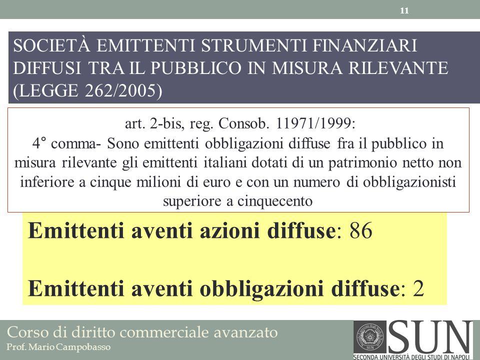 art. 2-bis, reg. Consob. 11971/1999: 4° comma- Sono emittenti obbligazioni diffuse fra il pubblico in misura rilevante gli emittenti italiani dotati d