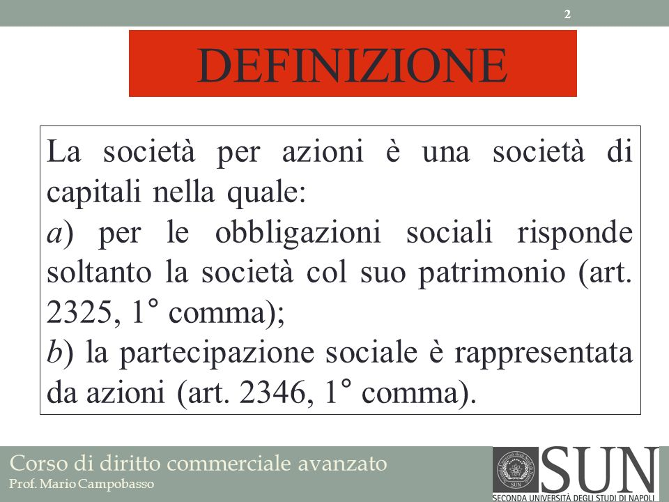 La società per azioni è una società di capitali nella quale: a) per le obbligazioni sociali risponde soltanto la società col suo patrimonio (art. 2325