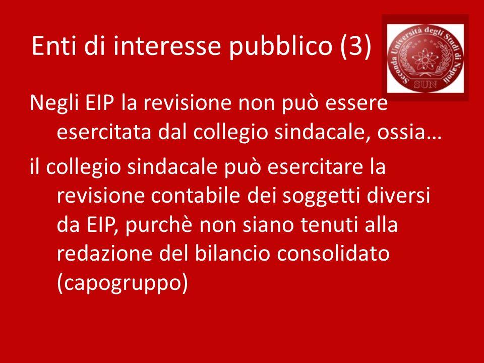 Enti di interesse pubblico (3) Negli EIP la revisione non può essere esercitata dal collegio sindacale, ossia… il collegio sindacale può esercitare la