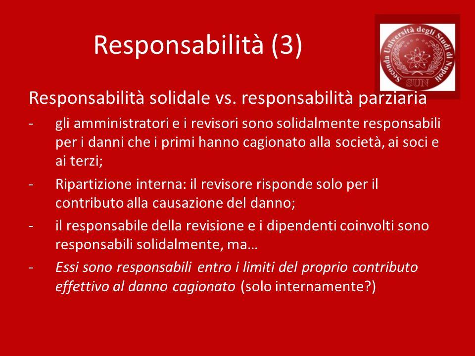 Responsabilità (3) Responsabilità solidale vs. responsabilità parziaria -gli amministratori e i revisori sono solidalmente responsabili per i danni ch