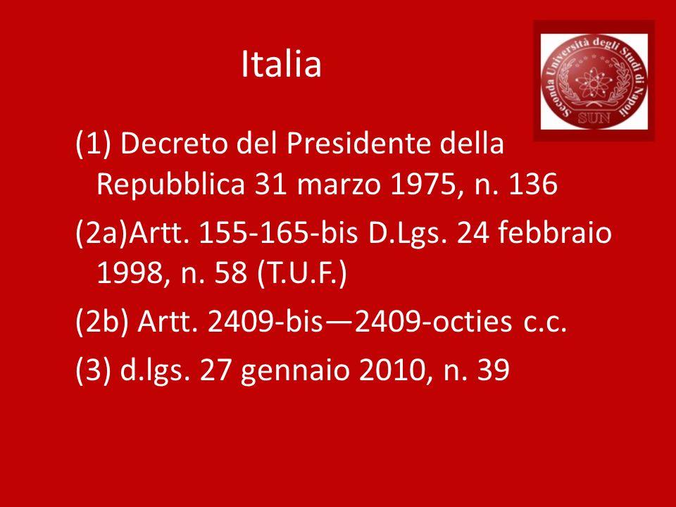 Italia (1) Decreto del Presidente della Repubblica 31 marzo 1975, n. 136 (2a)Artt. 155-165-bis D.Lgs. 24 febbraio 1998, n. 58 (T.U.F.) (2b) Artt. 2409
