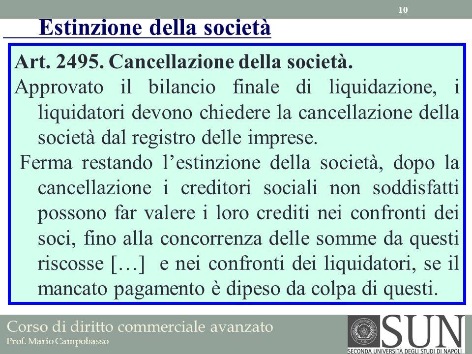 Art. 2495. Cancellazione della società. Approvato il bilancio finale di liquidazione, i liquidatori devono chiedere la cancellazione della società dal