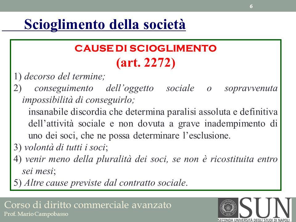 CAUSE DI SCIOGLIMENTO (art. 2272) 1) decorso del termine; 2) conseguimento delloggetto sociale o sopravvenuta impossibilità di conseguirlo; insanabile