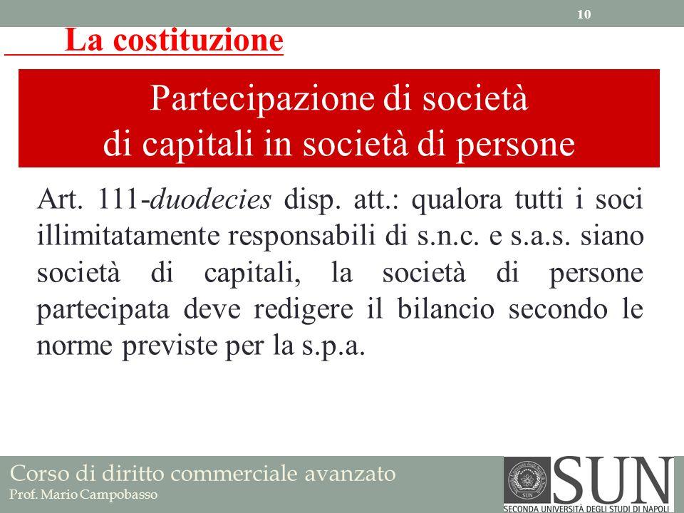 La costituzione Partecipazione di società di capitali in società di persone Art. 111-duodecies disp. att.: qualora tutti i soci illimitatamente respon