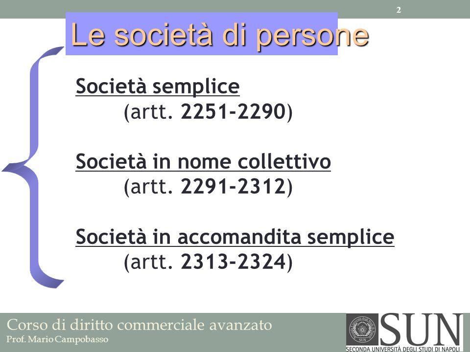 Società semplice (artt. 2251-2290) Società in nome collettivo (artt. 2291-2312) Società in accomandita semplice (artt. 2313-2324) Le società di person