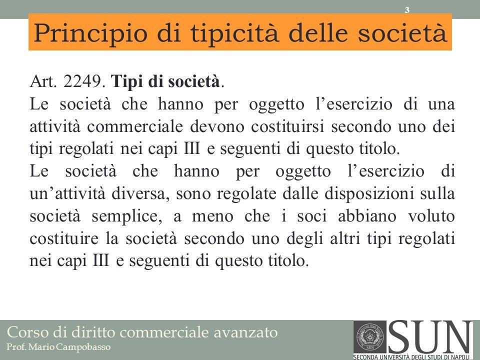 Principio di tipicità delle società Art. 2249. Tipi di società. Le società che hanno per oggetto lesercizio di una attività commerciale devono costitu