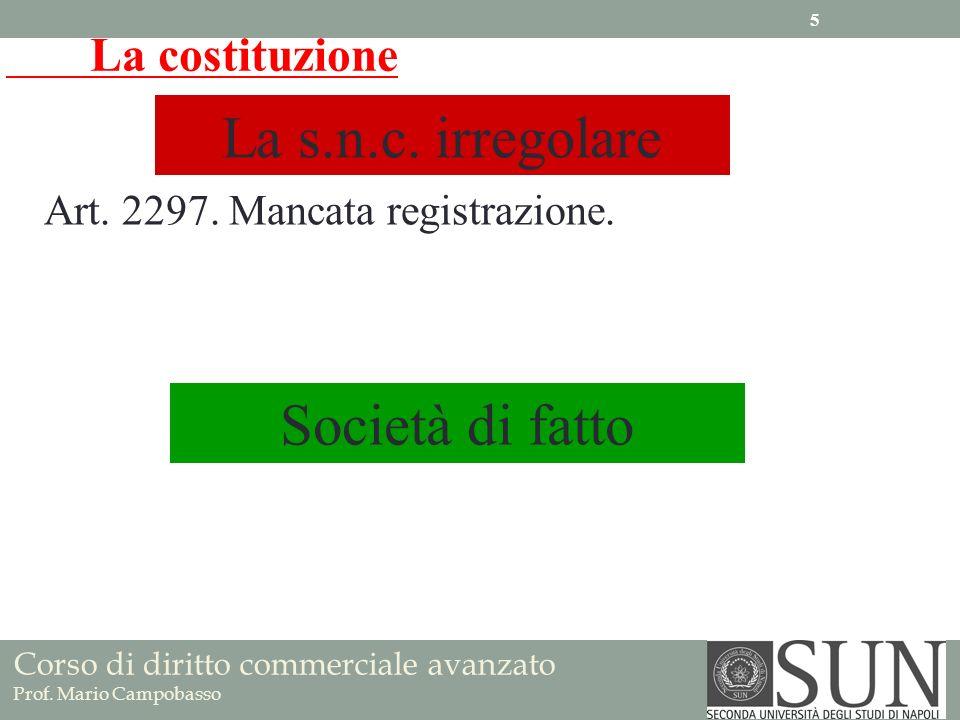 La costituzione La s.n.c. irregolare Art. 2297. Mancata registrazione. Società di fatto Corso di diritto commerciale avanzato Prof. Mario Campobasso 5