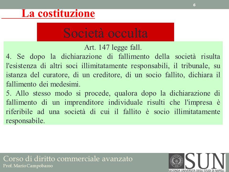 La costituzione Società occulta Art. 147 legge fall. 4. Se dopo la dichiarazione di fallimento della società risulta l'esistenza di altri soci illimit
