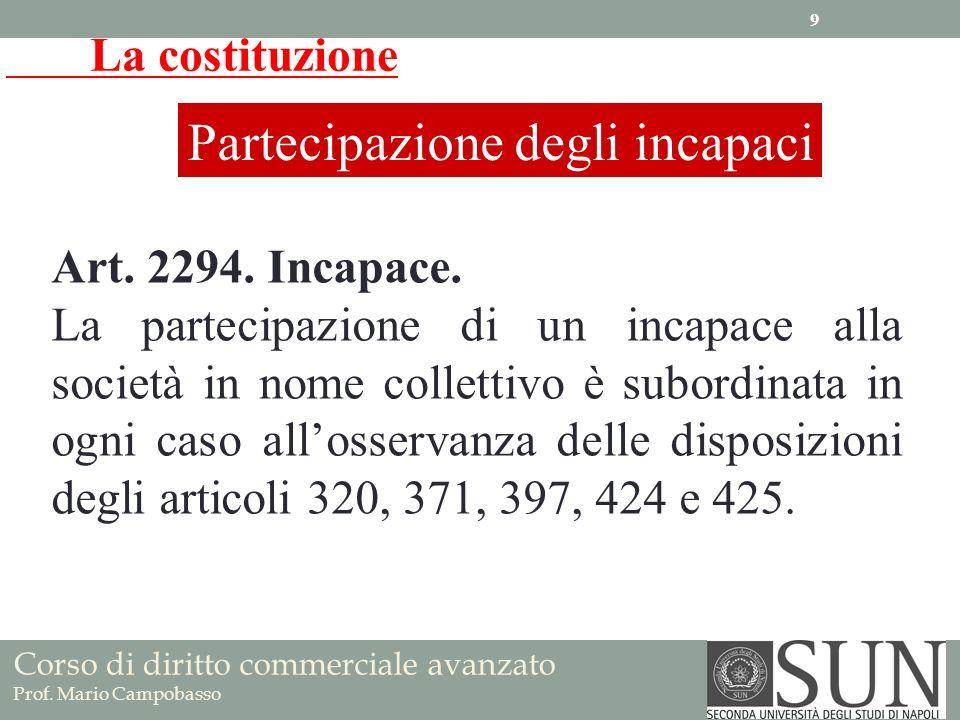 La costituzione Partecipazione degli incapaci Art. 2294. Incapace. La partecipazione di un incapace alla società in nome collettivo è subordinata in o