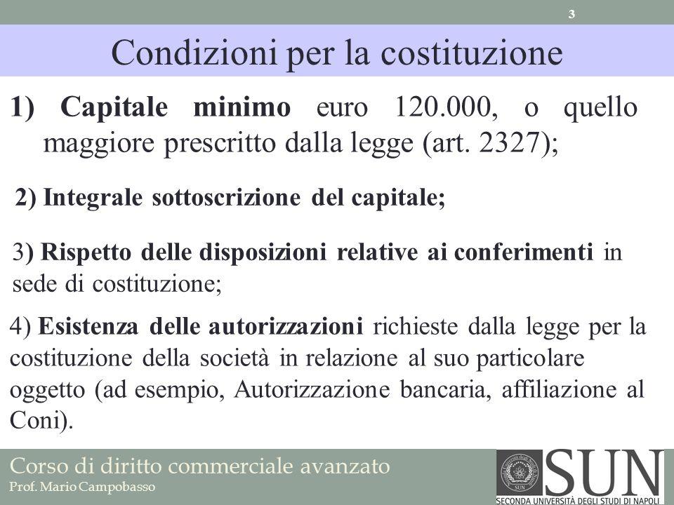 1) Capitale minimo euro 120.000, o quello maggiore prescritto dalla legge (art.