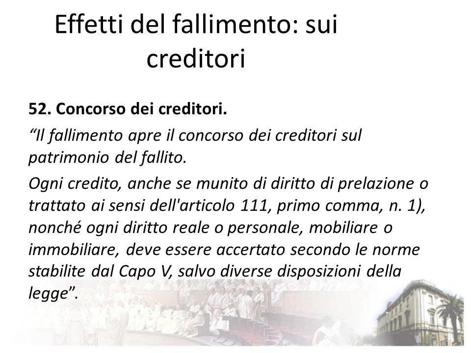 Effetti del fallimento: sui creditori 52. Concorso dei creditori. Il fallimento apre il concorso dei creditori sul patrimonio del fallito. Ogni credit