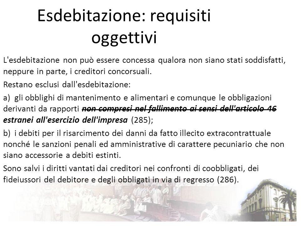Esdebitazione: requisiti oggettivi L'esdebitazione non può essere concessa qualora non siano stati soddisfatti, neppure in parte, i creditori concorsu