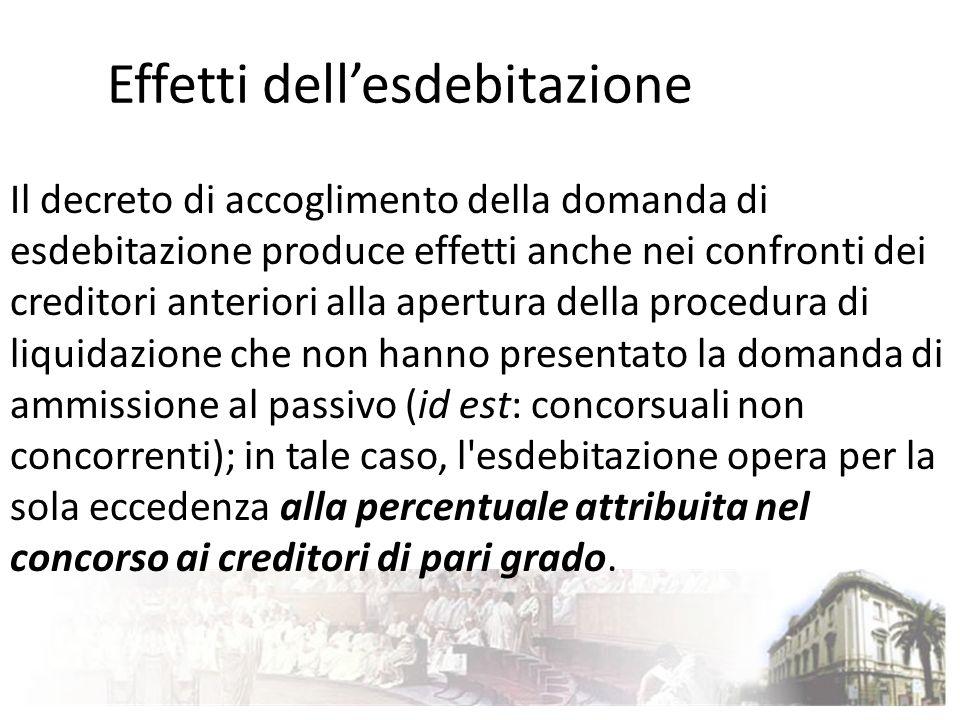 Effetti dellesdebitazione Il decreto di accoglimento della domanda di esdebitazione produce effetti anche nei confronti dei creditori anteriori alla a