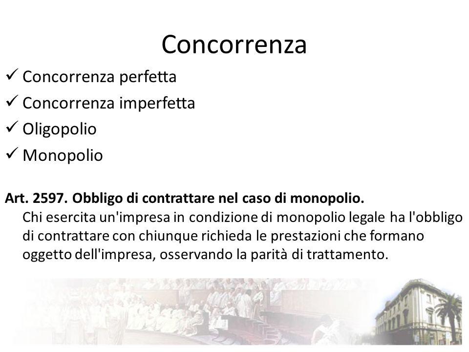Concorrenza Concorrenza perfetta Concorrenza imperfetta Oligopolio Monopolio Art. 2597. Obbligo di contrattare nel caso di monopolio. Chi esercita un'