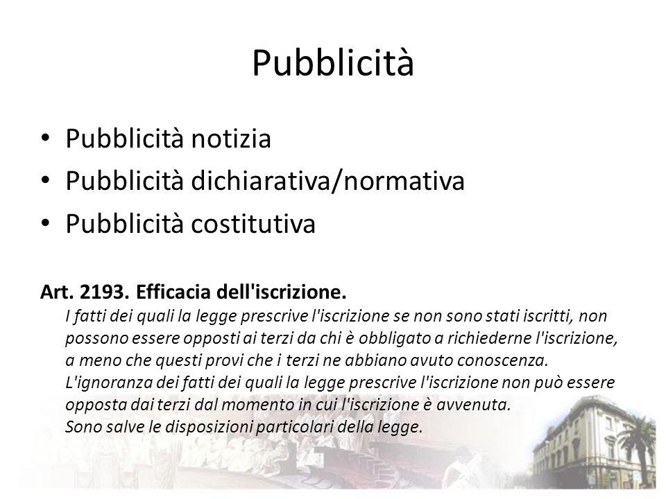 Pubblicità Pubblicità notizia Pubblicità dichiarativa/normativa Pubblicità costitutiva Art. 2193. Efficacia dell'iscrizione. I fatti dei quali la legg