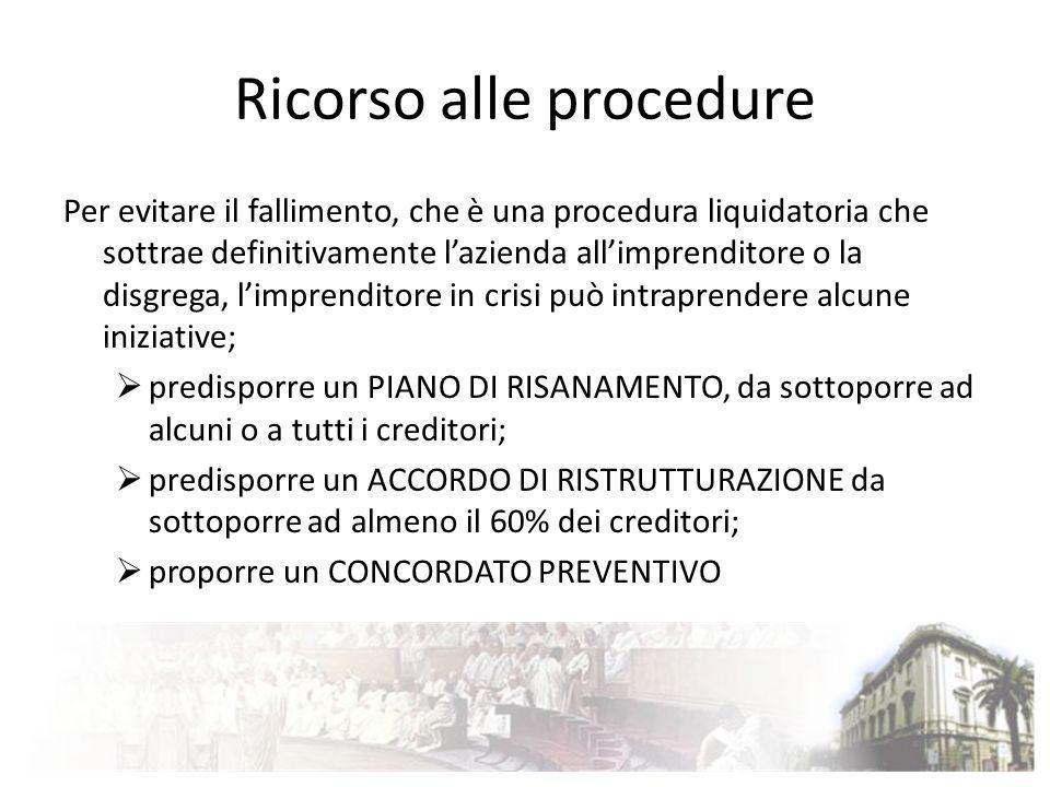Ricorso alle procedure Per evitare il fallimento, che è una procedura liquidatoria che sottrae definitivamente lazienda allimprenditore o la disgrega,