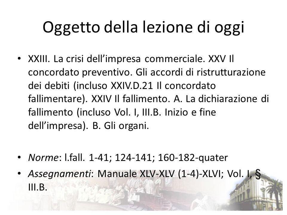 Oggetto della lezione di oggi XXIII. La crisi dellimpresa commerciale. XXV Il concordato preventivo. Gli accordi di ristrutturazione dei debiti (inclu