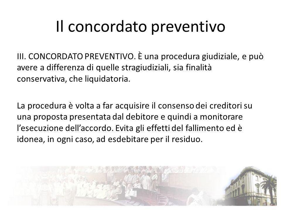Il concordato preventivo III. CONCORDATO PREVENTIVO. È una procedura giudiziale, e può avere a differenza di quelle stragiudiziali, sia finalità conse