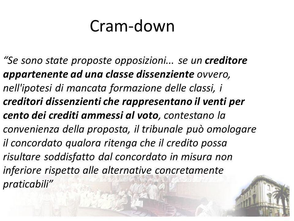 Cram-down Se sono state proposte opposizioni... se un creditore appartenente ad una classe dissenziente ovvero, nell'ipotesi di mancata formazione del