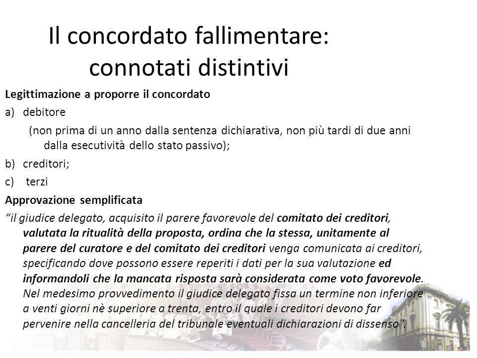 Il concordato fallimentare: connotati distintivi Legittimazione a proporre il concordato a)debitore (non prima di un anno dalla sentenza dichiarativa,