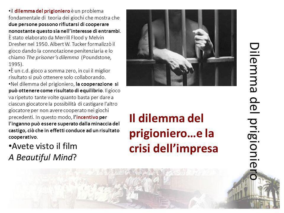 Dilemma del prigioniero il dilemma del prigioniero è un problema fondamentale di teoria dei giochi che mostra chedue persone possono rifiutarsi di coo