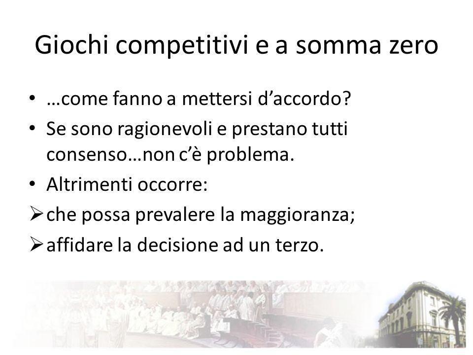 Giochi competitivi e a somma zero …come fanno a mettersi daccordo? Se sono ragionevoli e prestano tutti consenso…non cè problema. Altrimenti occorre: