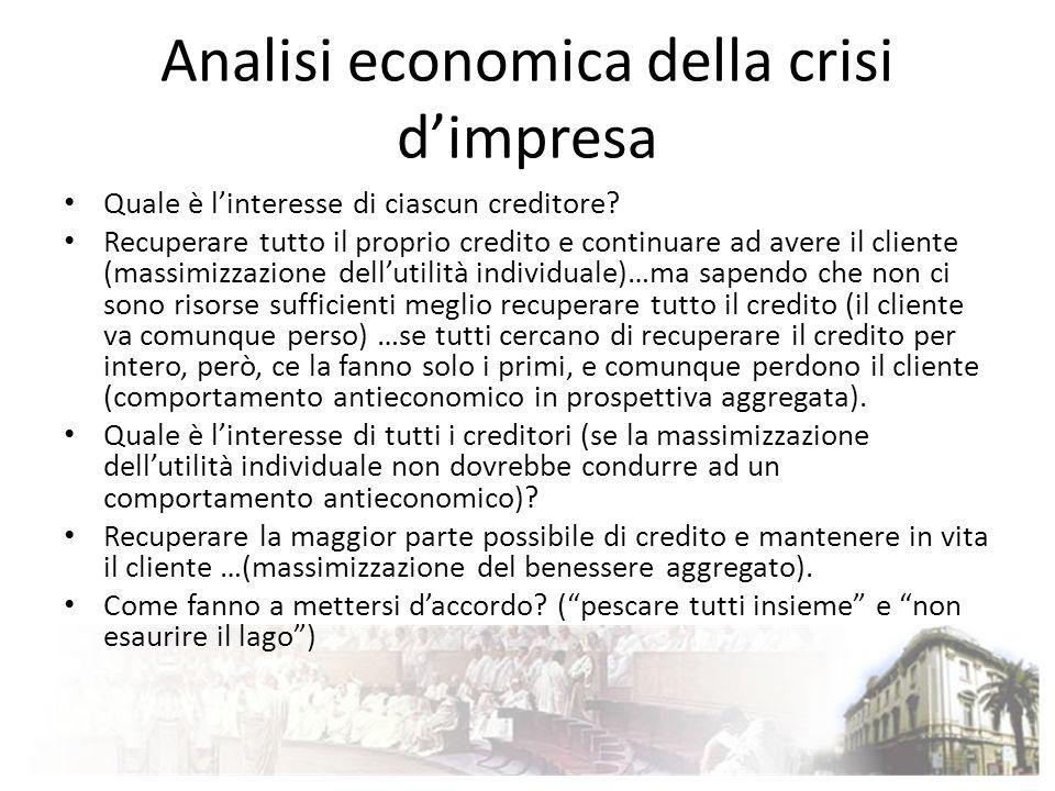Analisi economica della crisi dimpresa Quale è linteresse di ciascun creditore? Recuperare tutto il proprio credito e continuare ad avere il cliente (
