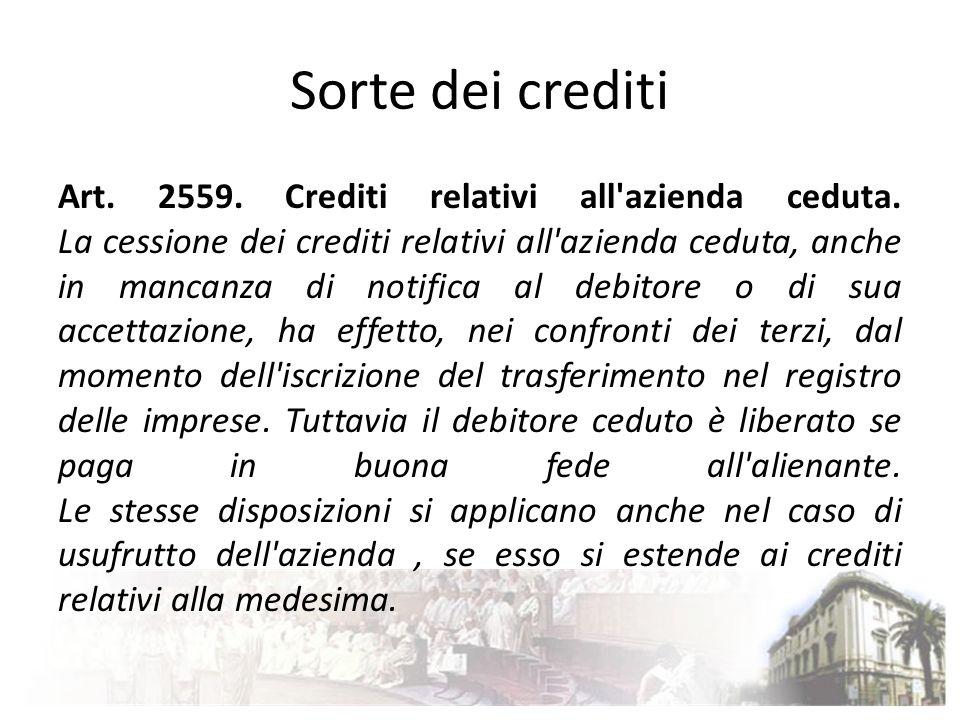 Accollo dei debiti relativi all azienda ceduta - Jus