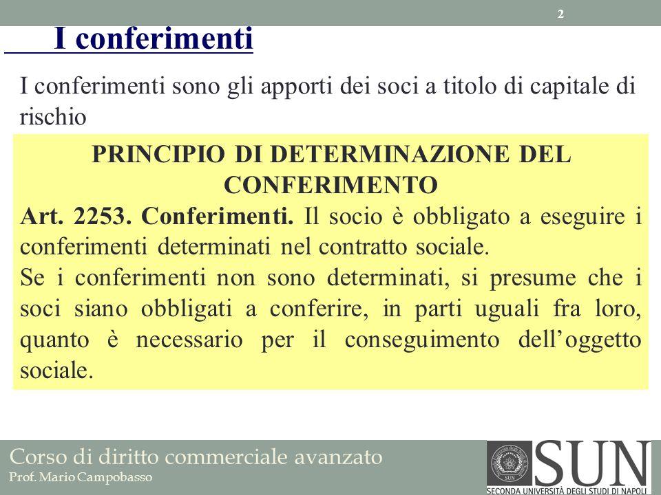 I conferimenti sono gli apporti dei soci a titolo di capitale di rischio PRINCIPIO DI DETERMINAZIONE DEL CONFERIMENTO Art. 2253. Conferimenti. Il soci