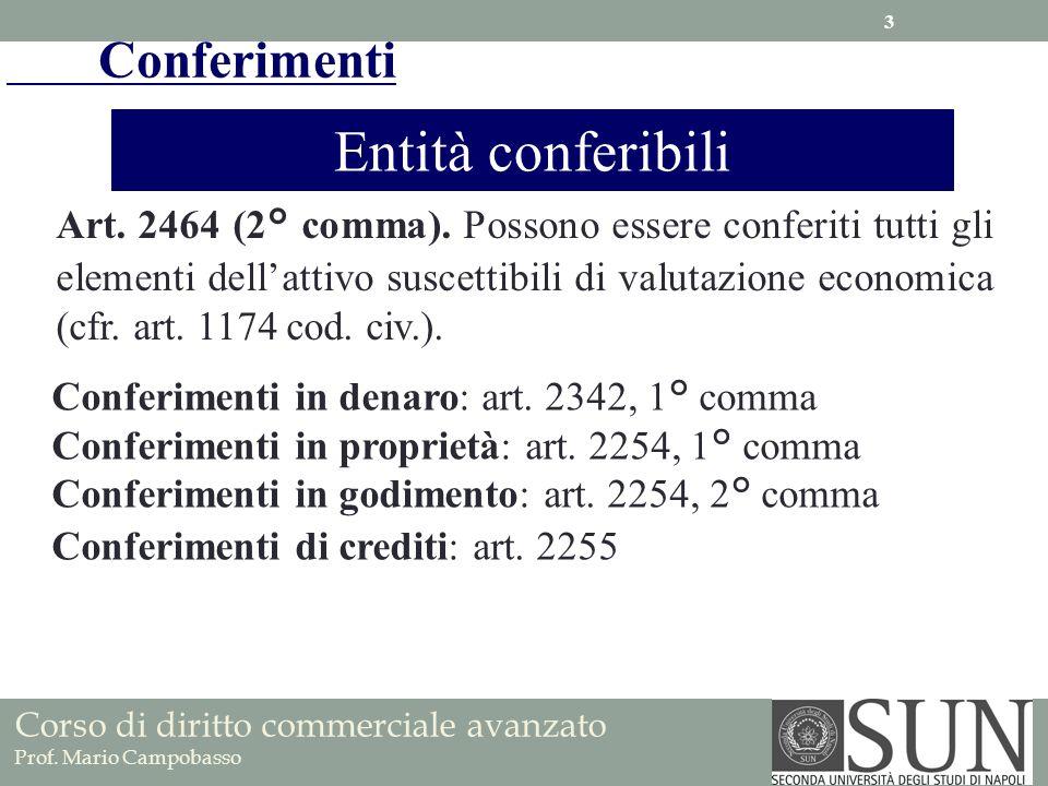 Conferimenti Entità conferibili Art. 2464 (2° comma). Possono essere conferiti tutti gli elementi dellattivo suscettibili di valutazione economica (cf